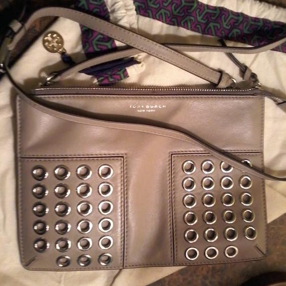 1e778a195a28 Tory Burch Grommet Mini French Gray Cross Body Bag.  M 5b10ab6aaa5719396bfe493a